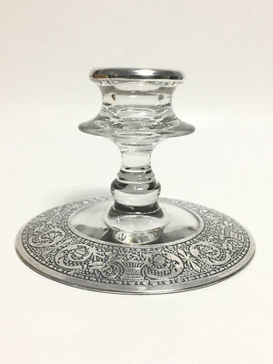 Antique Glass Candle Holder with Sterling Silver Overlay on Base and Rim