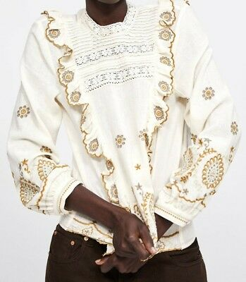 a9b92820 Zara Woman Embroidered Blouse With Ruffles Lace Trims White 6895/261 New  Ss19