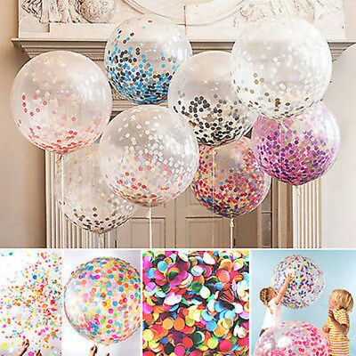 "10pcs 12"" Confetti Latex Balloons Rose Gold Helium Birthday Wedding Hen Party UK"