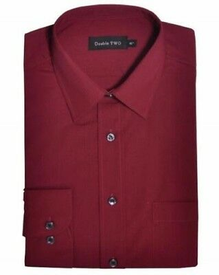 Double Two Classic Cotton Blend Long Sleeved Shirt in Burgundy