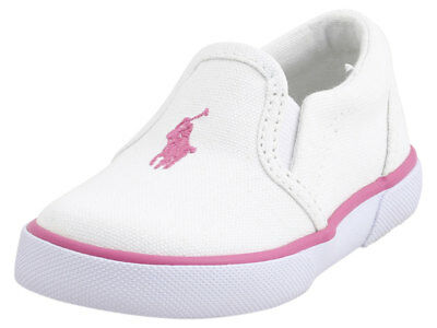 Polo Ralph Lauren Toddler Girl's Bal-Harbour-II White/Pink Sneakers Shoes