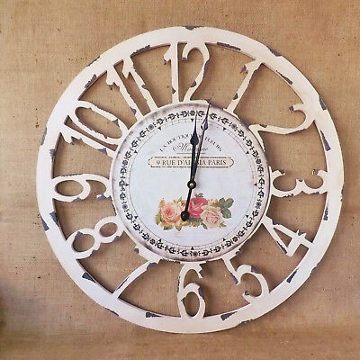 Large Antique White Cut Out French Vintage Roses Round Wooden Paris Wall Clock