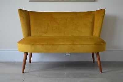 Two Seater Cocktail Sofa Bench Seat in Mustard Antique Gold . Handmade in UK