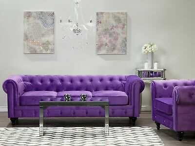Classic Chesterfield Sofa Button Tufted 3 Seater Velvet Purple Chesterfield