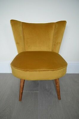 Cocktail Chair Seat in Mustard/Antique Gold Velvet . 1950's style