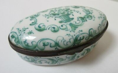 Antique Sceaux French Faience Porcelain Trinket Box