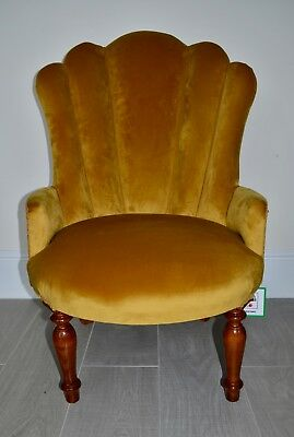 Art Deco Style Fan/Shell Chair in Antique Gold/Mustard Velvet. Made in UK