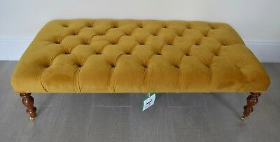 Deep Buttoned Coffee Table Stool/Foot Stool in Mustard Antique Gold
