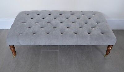 Deep Buttoned Coffee Table Stool/Foot Stool in Silver Velvet