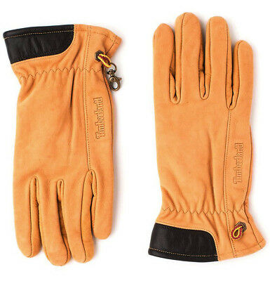 Timberland Mens Leather Winter Gloves Fleece Lined Wheat J1047 231 A187E