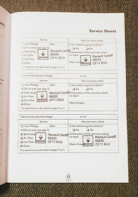 Renault Genuine Service Book Stamped At Your Choice