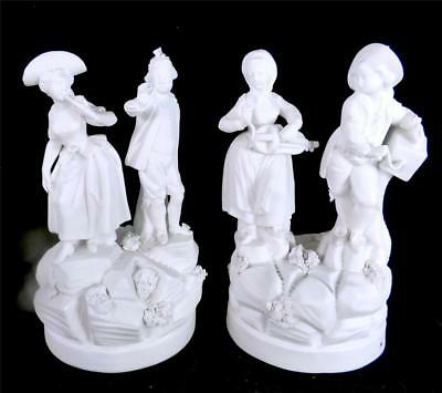 N845 Pair Antique French Late 18Th Century Hard Paste Biscuit Porcelain Figures