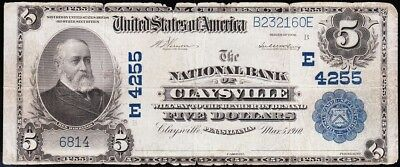 *SCARCE* 1902 $5 CLAYSVILLE, PA National Banknote! FREE SHIPPING! B232160E