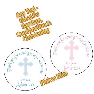 Personalised Blue Pink Cross Christening Baptism Confirmation Party Sticker 1146