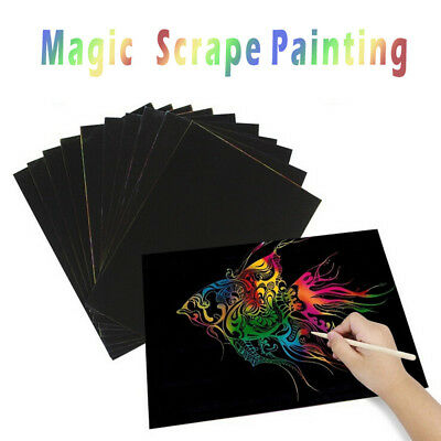 5X10PCS Magic Scrape Painting Crayon Paper Painting Learning Education Toys