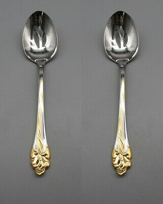 SET OF TWO - Oneida Stainless GOLDEN AMARYLLIS Slotted Serving Spoons USA