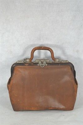 antique suitcase grip doctor bag satchel leather luggage Victorian original 1890