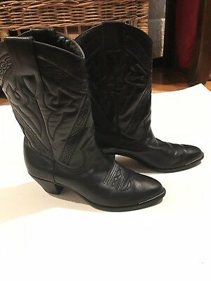 759f2984a3e ACME BLACK LEATHER Pointed Toe Vintage Cowboy Boots Womens Size 8 B ...