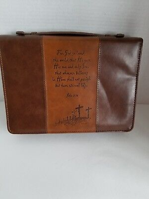 For God so Loved the World John 3:16 Brown Bible Cover Large