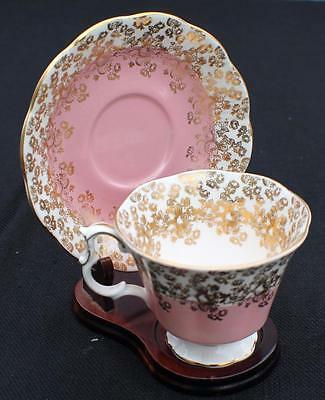 Vintage ROYAL ALBERT Bone China England CASCADE Pink Gold Roses Set Cup & Saucer