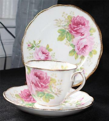 Vtg 1927 ROYAL ALBERT Crown China England AMERICAN BEAUTY Trio Cup Saucer Plate