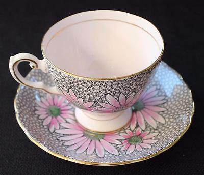 Vintage TUSCAN England Bone China Pink FLOWERS #521H Set Footed Cup & Saucer