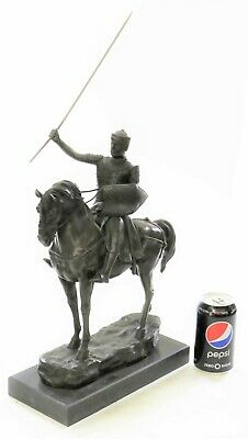 Rare Bronze Metal Statue Marble Base Medieval Middle Ages Knight Guard Battle NR