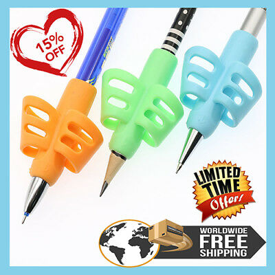 3pcs Two-Finger Grip Silicone Baby Learning Writing Tool Writing Pen Writing