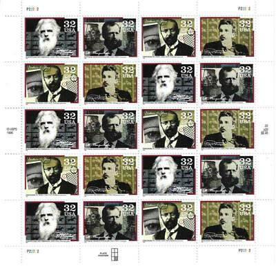 Us Scott 3061 - 64 Pane Of 20 Pioneers Of Communication Stamps 32 Cent Face Mnh