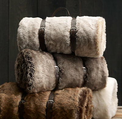048774363468 RESTORATION HARDWARE LUXE FAUX FUR THROW BLANKET COYOTE BROWN 50x60 NEW!   129