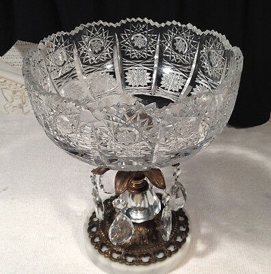 Vintage Hollywood Regency Cut Crystal Bowl Crystal Stem w/ Prisms Marble Base