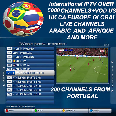 3,6,12 Months Iptv Subscription 5000 Ch+VOD Smart tv,IOS,fire-stick,MAG,Android