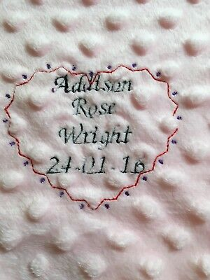 Personalised  embroidered BABY WAFFLE BLANKET 75CM-90CM 2 colors SUPER SOFT