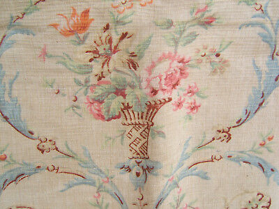 TISSU tapissier INSTRUMENTS URNE FLEURS ROSES tons fanés french faded FABRIC