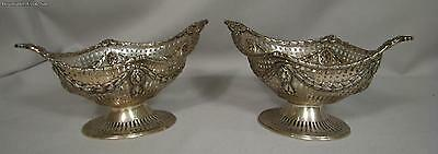 Pair Of English Sterling Silver Pierced Footed Dishes London 1900