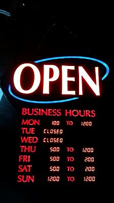Newon Led Open Sign With Digital Business Hours Model 6115