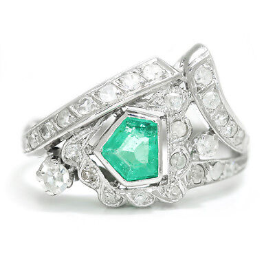Vintage Emerald Ring with Diamonds 14K White Gold .80ctw