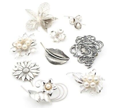 Lot Of Nine Vintage Sterling Silver And Pearl Brooches No Reserve #4300