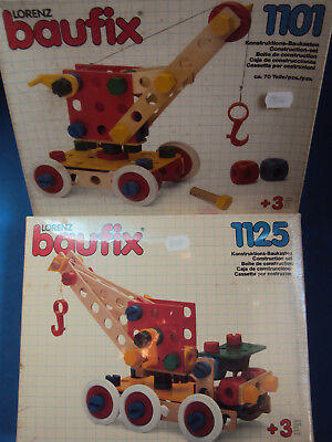 LOT 2 sealed BAUFIX lorenz NEW construction WOODEN toy 80s GERMANY nos MIB boxed