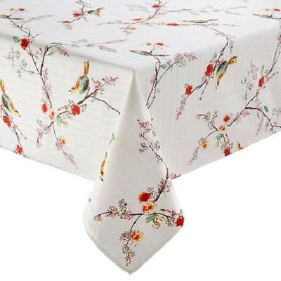 LENOX CHIRP Birds Flowers White Vinyl Flannel Back Rectangle Tablecloth NIP