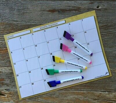 A4 Organiser +5pen Monthly Weekly Family Office Planner Fridge Whiteboard Magnet