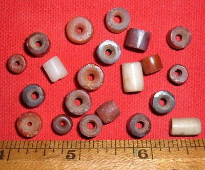 (21) Choice Colorful Sahara Neolithic Stone Beads, Prehistoric African Artifacts