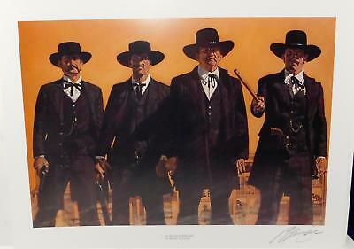 """""""A Second Before"""" Print Earp Brothers & Doc Holliday heading to OK Corral Signed"""