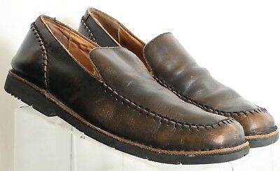8d645d536dc Bed Stu Distressed Brown Leather Moc Toe Slide On Casual Loafers Men s US 11