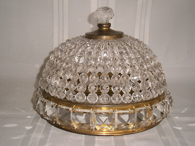 Large Deco Vintage Crystal Dome Light Shade 1930-40's