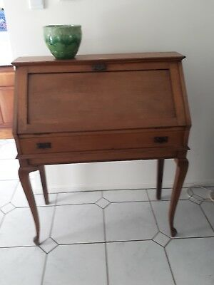 Antique Maple  Desk Inlaid with Leather