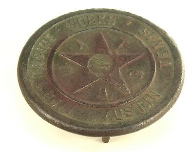 ! Antique 1800's Cast Iron TIPS ENGINE WORKS Austin TX Water Meter Cover Trivet