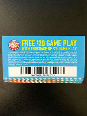 25 Dave And Busters $20 gameplay with identical purchase powercard exp 6/30/2019