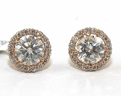 2.30 Ct Round Cut D/VVS1Diamond Halo Stud Earrings In Solid 14K Rose Gold Finish