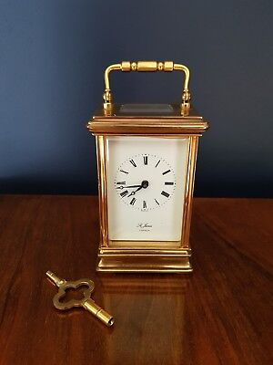 ENGLISH St James LONDON Brass Carriage Mantel Clock 11 Jewels : Working.